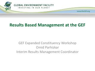 Results Based Management at the GEF