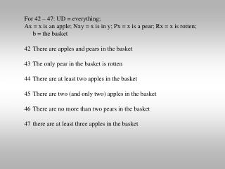 For 42 – 47: UD = everything;