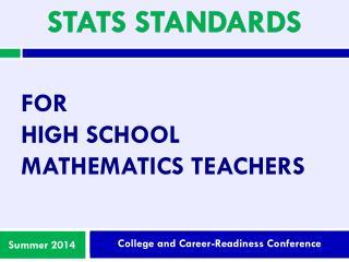 For  High school mathematics teachers