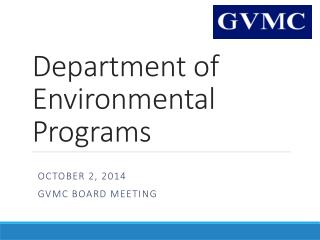 Department of  Environmental Programs