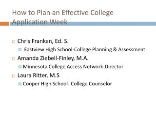 How to Plan an Effective College Application Week