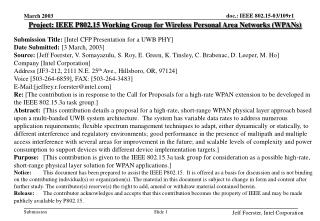 Project: IEEE P802.15 Working Group for Wireless Personal Area Networks (WPANs) Submission Title:  [Intel CFP Presentati