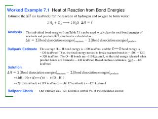 Worked Example 7.1  Heat of Reaction from Bond Energies