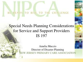 Special Needs Planning Considerations for Service and Support Providers IS 197
