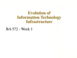 Evolution of  Information Technology Infrastructure