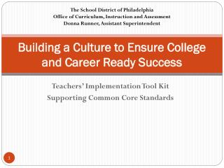 Building a Culture to Ensure College and Career Ready Success