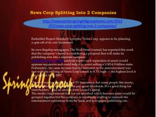 News Corp Splitting Into 2 Companies