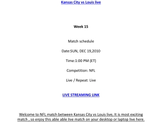 Kansas City vs Louis live Streaming NFL online on your PC /