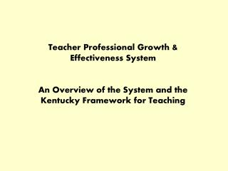 Teacher Professional Growth & Effectiveness System