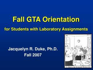 Fall GTA Orientation for Students with Laboratory Assignments