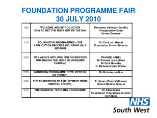 FOUNDATION PROGRAMME FAIR 30 JULY 2010