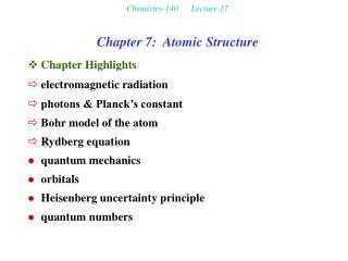 Chemistry-140      Lecture 17