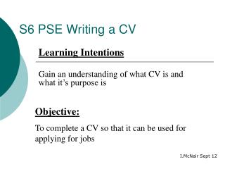 S6 PSE Writing a CV