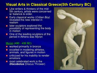 Visual Arts in Classical Greece(5th Century BC)