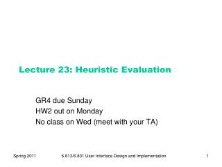 Lecture  23:  Heuristic Evaluation