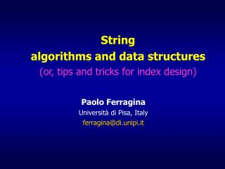 String  algorithms and data structures (or, tips and tricks for index design)