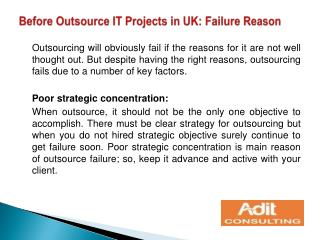 Before Outsource IT Projects in UK: Failure Reason