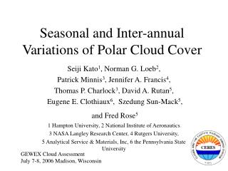 Seasonal and Inter-annual Variations of Polar Cloud Cover