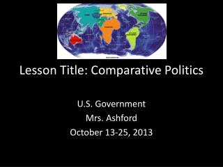 Lesson Title: Comparative Politics