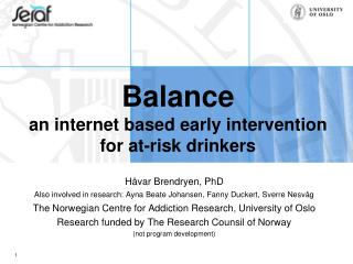 Balance  an internet based early intervention for at-risk drinkers