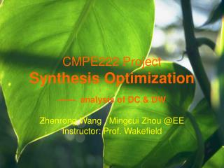 CMPE222 Project Synthesis Optimization