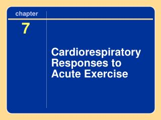Cardiorespiratory Responses to Acute Exercise