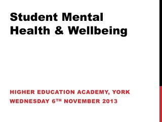 Student Mental Health & Wellbeing