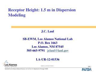 Receptor Height: 1.5 m in Dispersion Modeling