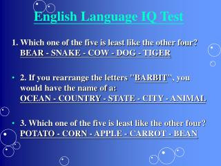 English Language IQ Test