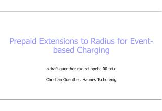 Prepaid Extensions to Radius for Event-based Charging