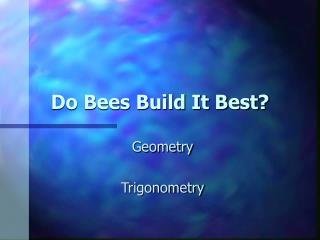 Do Bees Build It Best?