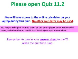 Please open Quiz  11.2