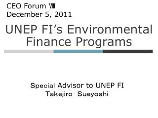 UNEP FI's Environmental Finance Programs