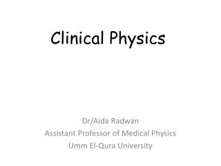Clinical Physics