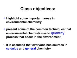 Class objectives: