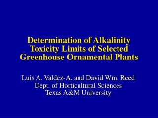 Determination of Alkalinity Toxicity Limits of Selected Greenhouse Ornamental Plants