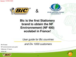 User guide for Bic countries  and Div 1000 customers