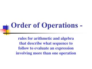 Order of Operations -