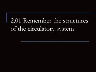 2.01 Remember the structures of the circulatory system
