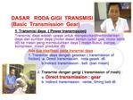 DASAR   RODA GIGI  TRANSMISI Basic  Transmission  Gear