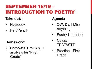 September  18/19 –  Introduction to Poetry
