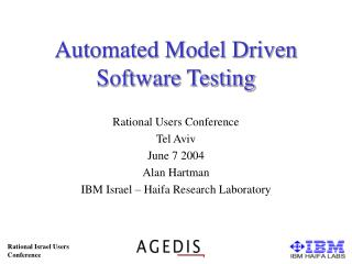 Automated Model Driven Software Testing