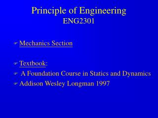 Principle of Engineering  ENG2301