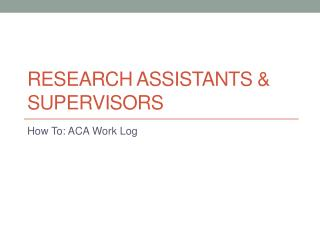 Research assistants & Supervisors
