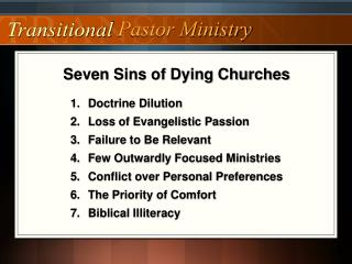 Seven Sins of Dying Churches