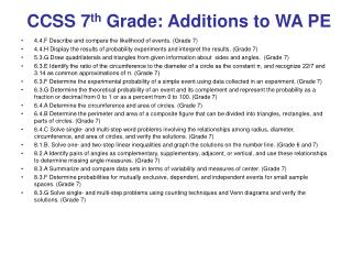CCSS 7 th  Grade: Additions to WA PE