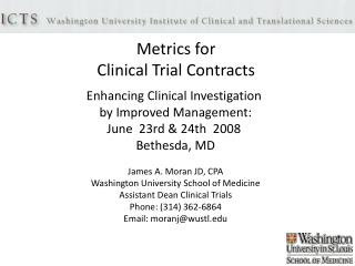 Metrics for  Clinical Trial Contracts