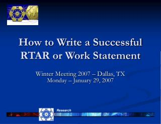 How to Write a Successful RTAR or Work Statement