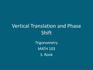 Vertical Translation and Phase Shift