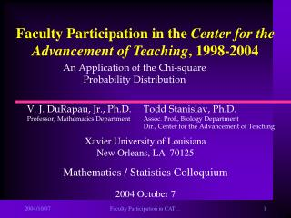 Faculty Participation in the  Center for the Advancement of Teaching , 1998-2004